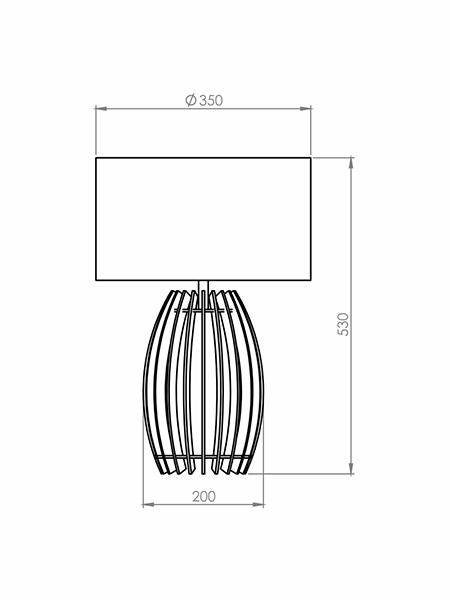 Desenho técnico - Abajur Ripado Tambor | Classic Lar