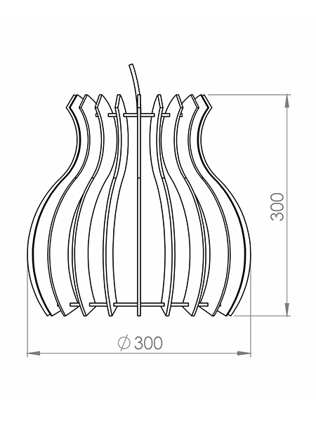 Desenho técnico - Pendente Ripado Coroa | Classic Lar