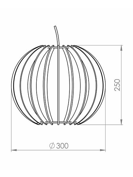 Desenho técnico - Pendente Ripado Esfera | Classic Lar