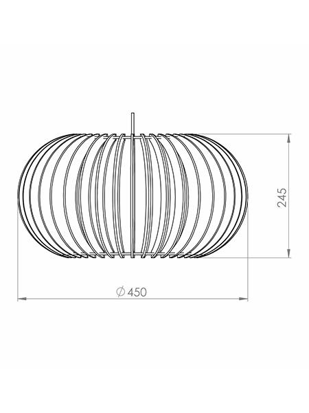 Desenho técnico - Pendente Ripado Oval | Classic Lar
