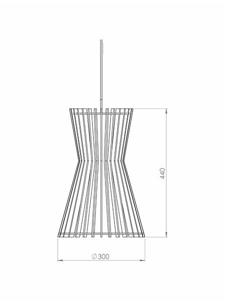 Desenho técnico - Pendente Ripado Ampulheta | Classic Lar