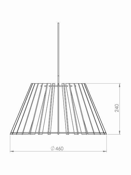 Desenho técnico - Pendente Ripado Cone | Classic Lar