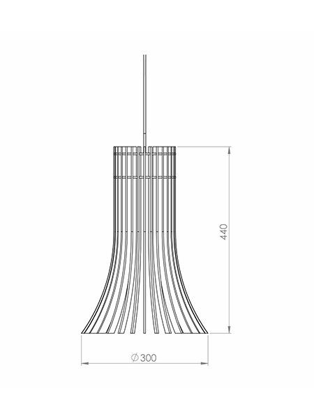 Desenho técnico - Pendente Ripado Pincel Curvo | Classic Lar