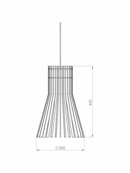 Desenho técnico - Pendente Ripado Pincel Reto | Classic Lar