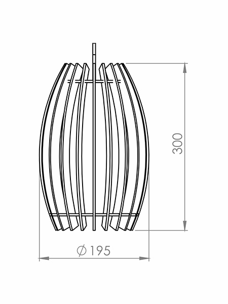Desenho técnico - Pendente Ripado Tambor | Classic Lar