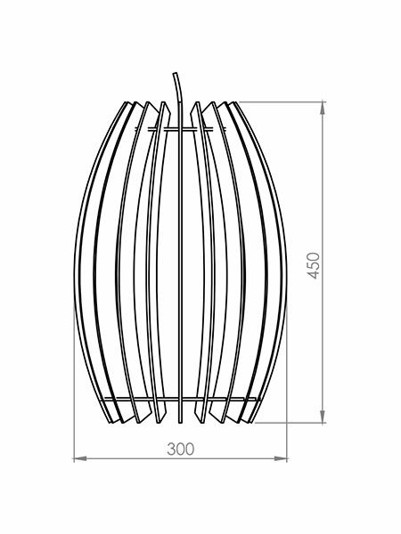Desenho técnico - Pendente Ripado Tambor Grande | Classic Lar
